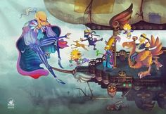 Les personnages des simpsons en remplacement de l'équipe de final fantasy 6  final fantasy 6 with simpsons's caracters.