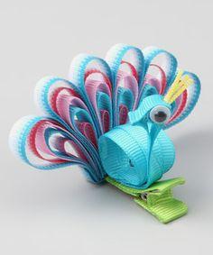Peacock Hair Clip (sorry, no link), Handmade Gifts for Kids Ribbon Hair Clips, Ribbon Art, Diy Hair Bows, Ribbon Crafts, Ribbon Bows, Ribbons, Blue Ribbon, Grosgrain Ribbon, Barrettes