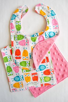 Owl Burp Rag & Bib Set, Bright Baby Bib and Burp Cloth Matching Set, Cute Baby Gift, on Etsy, $17.00