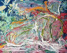 ABSTRACTION IN THE GARDEN (Abstracción en el jardín) - 46x38 cm = 18x15 in - ABSTRACT lyrical expressionism /// Expresionismo lírico ABSTRACTO - Ask for price (Pregunta precio) - www.freijanez.com/ freijanez@gmail.com