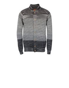 Woolen bomber with shaded stripe. Regular fit.