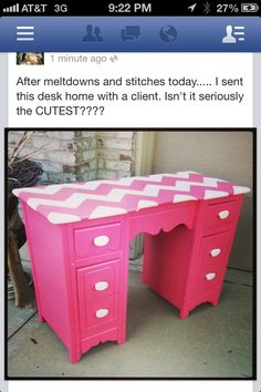 Hot pink, white drawer pulls, maybe some stripes or polka dots?