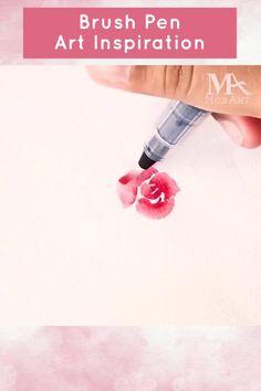 Water Brush Pen, Brush Pen Art, Watercolor Brush Pen, Watercolor Effects, Water Color Pen, Floral Watercolor, Coloring Brush Pen, Watercolor Paintings For Beginners, Watercolor Art Lessons