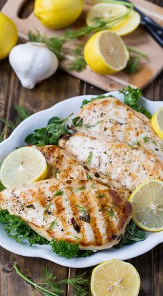 Healthy Grilled Greek Chicken flavored with lemon juice and plenty of herbs.