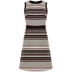 Warehouse Stripe Tweed A-Line Dress, Grey/Red (1.210 ARS) ❤ liked on Polyvore featuring dresses, shift dress, mini dress, red a line dress, red mini dress and long-sleeve mini dress