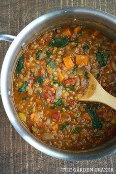 The Garden Grazer: Red Lentil Stew Çorba Tarifleri Veggie Recipes, Soup Recipes, Vegetarian Recipes, Dinner Recipes, Cooking Recipes, Red Lentil Recipes, Yummy Recipes, Dinner Ideas, Sweet Potato Stew Recipe