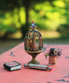 Dollhouse Miniature Wizard or Witch Owl Book by 19thDayMiniatures, $35.00
