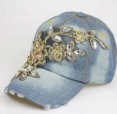 soft jean embroidery bling flower decoration baseball cap women glacier cap sun hat casual outdoor cap fashion handmade design hat by littledandeliondream on Etsy