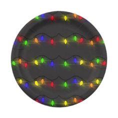 Twinkling Christmas Lights Paper Plate - Xmas ChristmasEve Christmas Eve Christmas merry xmas family kids gifts holidays Santa