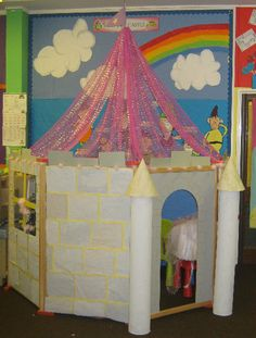 Fairytale castle role-play area classroom display photo - Photo gallery - SparkleBox ok curved display? School Displays, Classroom Displays, Classroom Themes, Dramatic Play Area, Dramatic Play Centers, Fairy Tale Theme, Fairy Tales, Castles Topic, Castle Classroom