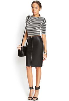 crop top with fitted sleek front zipper skirt and bag.