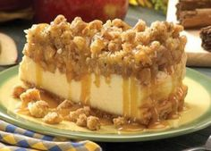 apple crisp cheesecake. Perfect for a thanksgiving dessert!