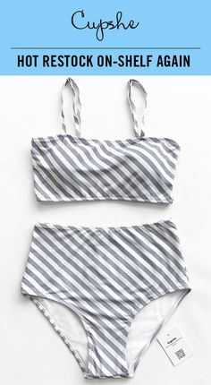 HOT RESTOCK ON-SHELF AGAIN! Fresh simple high-waisted bikini set features chic inclined grey & white stripe print. Adjustable shoulder straps and removable padding bras give you comfortable feeling. Better service & more affordable price! Shop now~