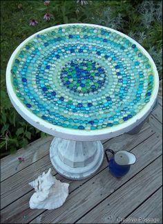 beautiful mosaic bird bath (or table top pattern)
