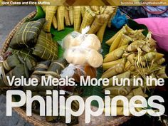 VALUE MEALS. More FUN in the Philippines! Philippines Tourism, Philippines Culture, Filipino Recipes, Filipino Food, Snack Recipes, Snacks, Rice Cakes, Foods To Eat, Fruit Smoothies