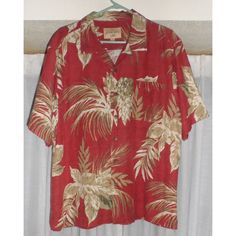 """Havana Jack's Cafe Men's XL Silk Tropical Shirt Brick Red Listing in the Extra Large (45-47"""" Chest),Casual Shirts,Mens Clothing,Clothes, Shoes, Accessories Category on eBid United States 