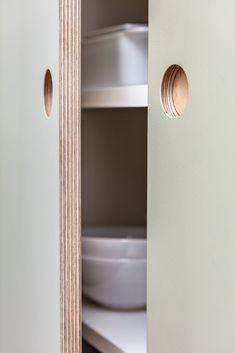 Painted, Linoleum or Laminate Birch Ply - Spraypainted birch plywood doors, formica plywood, fenix, forbo linoleum birch plywood kitchen door - Plywood Kitchen, Plywood Cabinets, Ikea Cabinets, Wood Kitchen Cabinets, Kitchen Cabinet Doors, Painting Kitchen Cabinets, Kitchen Paint, Ikea Kitchen, Kitchen Storage