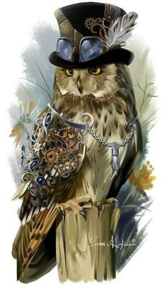 Steampunk-style owl by Kajenna on DeviantArt Cute Drawings, Animal Drawings, Owl Drawings, Graffiti Kunst, Steampunk Kunst, Steampunk Animals, Owl Artwork, Owl Illustration, Owl Pictures