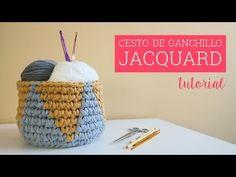 Cesto de ganchillo JACQUARD | Jacquard crochet basket - YouTube