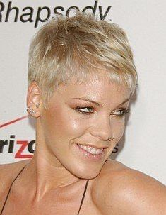Music Celebrity Pink Short Tapered Hair Style