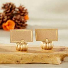 Gold Pumpkin Place Card Holder, Set of 6