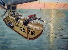 """""""Totally Steampunk"""" KB An unusual duel in the World War One, Airship vs U-Boot (Osprey Publishing) Military Art, Military History, Zeppelin, Ww1 Art, Osprey Publishing, Airplane Art, World War One, Aviation Art, Submarines"""