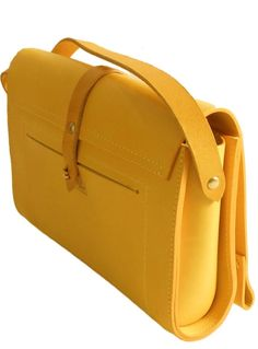 Gia Mini Cross Body Bag in Yellow by M. Structured mini crossbody bag with elongated flap and turned edges. Finished with a central contrast strap and fas. Small Leather Bag, Leather Bags, Cross Shoulder Bags, Leather Bag Pattern, Diy Handbag, Mini Crossbody Bag, Leather Keychain, Small Bags, Leather Craft