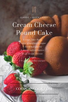 Your new favorite cream cheese pound cake recipe! The cream cheese and vanilla flavors are delightful in this easy to make cake. Don't forget the ice cream!
