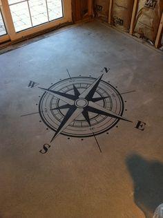 Compass Floor Stencil with latitude and longitude coordinates.