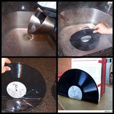 Suporte p/ livros feito com discos de vinil