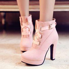 4 Colors Elegant Thick Platform High Heels Short Boots SP153890