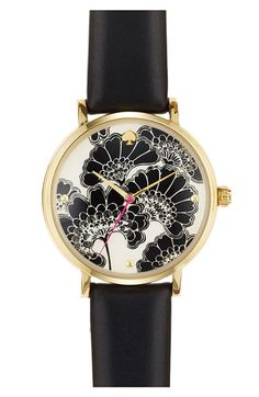 kate spade new york 'metro' patterned dial watch