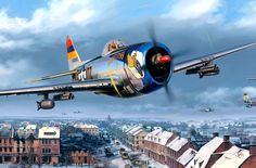 Defenders of Bastogne, by Nicolas Trudgian (detail). P-47D Thunderbolt