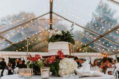 Cake, flowers, clearspan tents foreva. #osthoffwedding