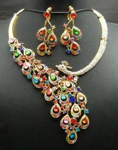 TQ Fashion WBN100A Peacock Multicolor Crystal Rhinestone Necklace Earrings set Bridal Prom