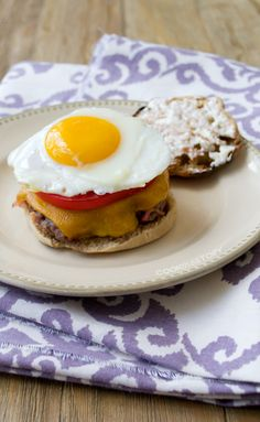 A burger recipes where bacon is mixed right in with the beef to form the burger patty. Amazing, right? And did you see that egg ready to drip over it all?
