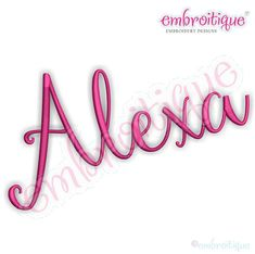 Embroitique: Alexa Hand letterered Calligraphy Machine Embroidery Monogram Alphabet Font- Instant Download- Beautiful and classy!