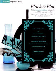 We used the inspiration to create this modern black and turquoise wedding invitation idea. We love the mix of vintage artwork and contemporary colors,