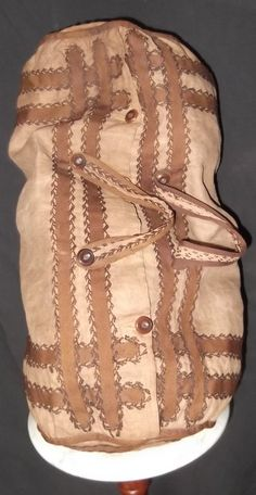 Linen duffle bag - brown braiding, feather stitching, wood buttons