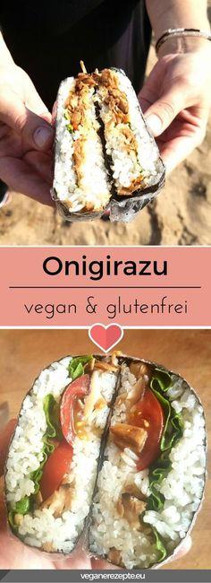 Onigirazu sind aktuell der Knaller. Ein Sandwich auf Basis von Reis und einer Füllung nach Wahl. Quasi wie die beliebten Onigiri aus Japan. Wer kann da widerstehen? #onigirazu #sushi #sandwich #onigiri #vegan #vegetarisch #veganfood #glutenfrei #rezept Sandwich Vegan, Sushi Sandwich, Onigirazu, Cheesecake, Couscous, Easy Peasy, Chinese Food, Vegan Gluten Free, Risotto