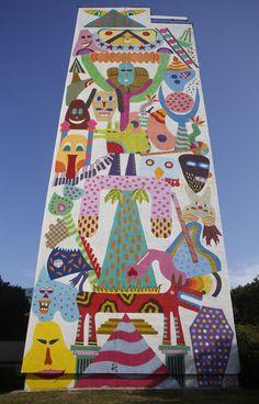 "by Zosen + Mina Hamada - ""Life Totem"" - for Monumental Art Project - Zaspa… Murals Street Art, Street Art Graffiti, Mural Wall Art, Mural Painting, Painting Inspiration, Art Inspo, Outdoor Art, Art Festival, Public Art"