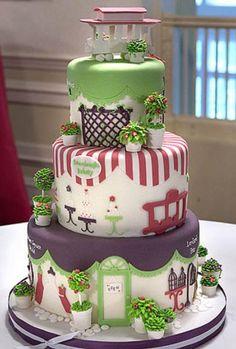 Una preciosidad de tarta, parece que paseas por un barrio parisino