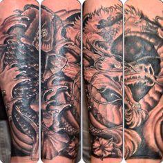 Multiple Cover up Custom Japanese Halve Sleeve Tattoo by Joshua Doyon (IG: @InkedUpGing)