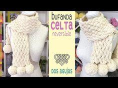 Bufanda en punto CELTA REVERSIBLE tejida a dos agujas con pompones Tejiendo Perú - YouTube Knitting Videos, Knitting Stitches, Diy Crafts Hacks, Diy And Crafts, Knit Crochet, Crochet Hats, Crafty Craft, Fingerless Gloves, Arm Warmers