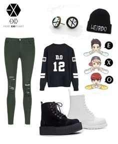 """""""Exo-L"""" by molu-1 on Polyvore featuring J Brand, Dr. Martens, T.U.K., women's clothing, women's fashion, women, female, woman, misses and juniors"""