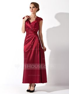 A-Line/Princess V-neck Ankle-Length Ruffle Lace Beading Zipper Up Cap Straps Short Sleeves No Burgundy Spring Fall Winter General Plus Charmeuse Mother of the Bride Dress