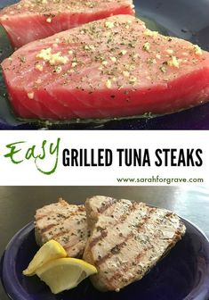 Sarah's Easy Grilled Tuna Steaks These tuna steaks can be cooked on the grill or broiled. A healthy addition to your dinner menu! Fish Dishes, Seafood Dishes, Seafood Recipes, Dinner Recipes, Game Recipes, Recipies, Clean Eating, Healthy Eating, Grilled Tuna Steaks