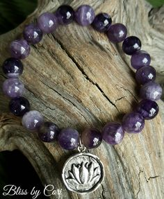"Amethyst & Antiqued Sterling Silver ""Lotus Flower"" Bracelet - Reiki, Energy, Spiritual, Yoga, Meditation, Boho, Mala,  *FREE SHIPPING*  by BlissbyCori on Etsy $30.00"