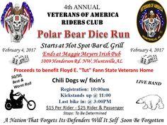 Huntsville, AL - Feb. Annual Veterans of America RC Polar Bear Dice Run. Proceeds benefit the Floyd E. Tutt Fann State Veterans Home. Veterans Home, Disabled Veterans, Soldier Love, Motorcycle Events, Dice, Polar Bear, Alabama, Charity, Benefit