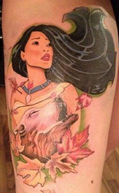 Intense Pocahontas Disney tattoo